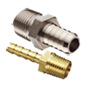 Photo of stainless steel hose barb and brass barb